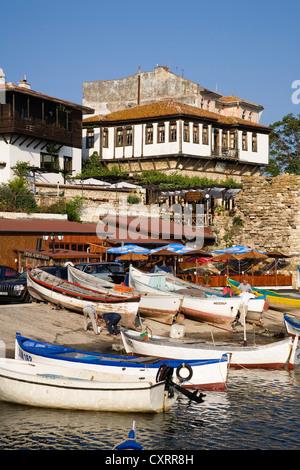 Southern harbor, museum town of Nesebar, Black Sea coast, Bulgaria, Europe - Stock Photo