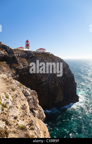 Lighthouse and cliffs, Cabo de Sao Vicente, Algarve, Portugal, Europe - Stock Photo