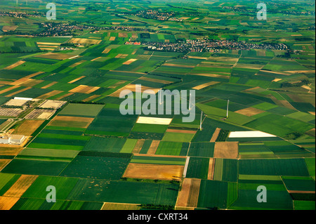 Fields and wind turbines near Frankfurt am Main, Hesse - Stock Photo