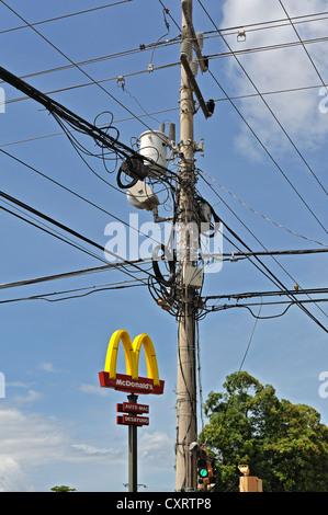 Electricity pylon in Liberia, Guanacaste province, Costa Rica, Central America - Stock Photo