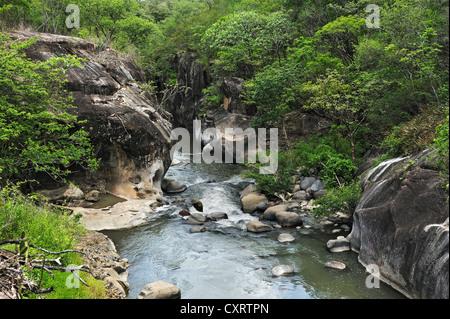 River gorge near Liberia, Guanacaste province, Costa Rica, Central America - Stock Photo
