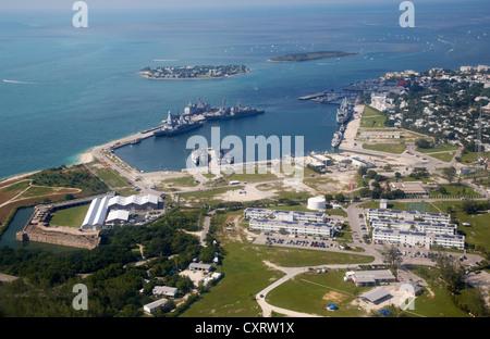 aerial view of nas key west naval air station base truman annex florida keys usa - Stock Photo