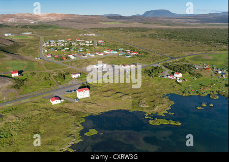 Aerial view, at Lake M vatn, Reykjahlí  or Reykjahlid settlement, northern Iceland, Iceland, Europe - Stock Photo