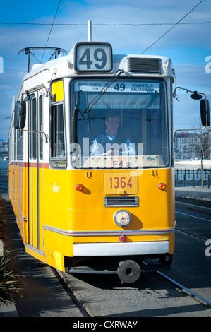 Tram at Liberty Bridge, Budapest, Hungary, Europe - Stock Photo