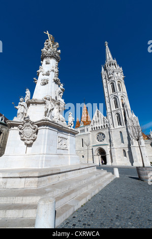 Holy Trinity Column, a Baroque plague column with statues of saints, 14 meters high, commemorating the plague epidemic - Stock Photo
