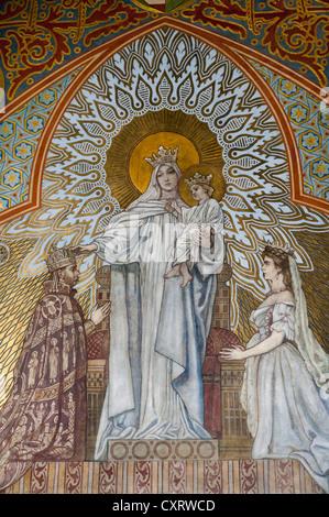 Fresco of the coronation, Matthias Church, castle hill, Budapest, Hungary, Europe - Stock Photo