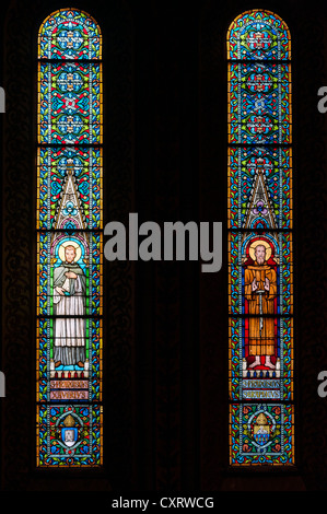 Stained-glass windows, sanctuary of Matthias Church, castle hill, Budapest, Hungary, Europe - Stock Photo