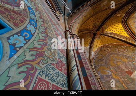 Frescoes, interior view of Matthias Church, castle hill, Budapest, Hungary, Europe - Stock Photo