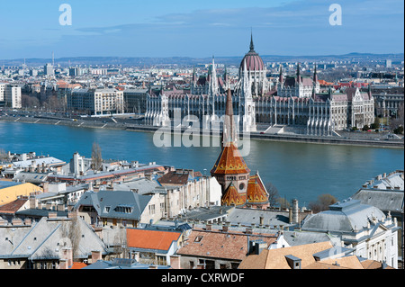 View of the Danube river and the Hungarian Parliament as seen from the castle hill, Budapest, Hungary, Europe - Stock Photo