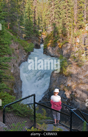 Overlook of Maligne River in upper section of Maligne Canyon in Jasper National Park, Alberta. - Stock Photo