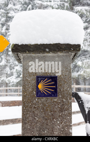Snow-covered sign for the Way of St. James, pilgrimage path, way of the cross, Einsiedeln, Switzerland, Europe - Stock Photo