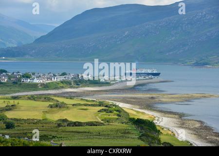 Ullapool with ferry, Loch Assynt, Scottish Highlands, Western Ross, Scotland, United Kingdom, Europe - Stock Photo