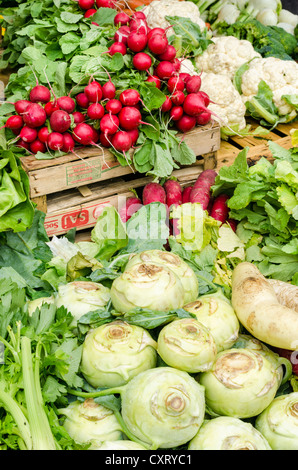 Freshly harvested kohlrabi, radishes and cauliflower at the weekly farmers' market in Freiburg im Breisgau, Baden - Stock Photo