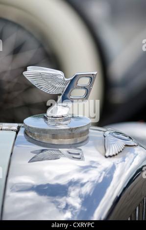 'Flying B', Bentley hood ornament, festival of classic cars, 'Retro Classics meets Barock', Schloss Ludwigsburg - Stock Photo
