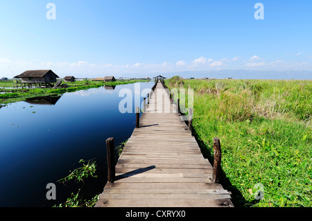 Jetty at Inle Lake, Burma, Myanmar, Southeast Asia, Asia - Stock Photo