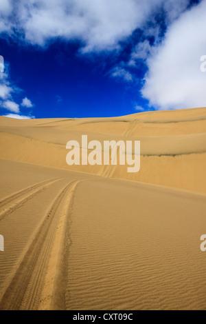 Tyre tracks in the sand, dunes, Namib Desert, Namib Naukluft Park, Namibia, Africa - Stock Photo