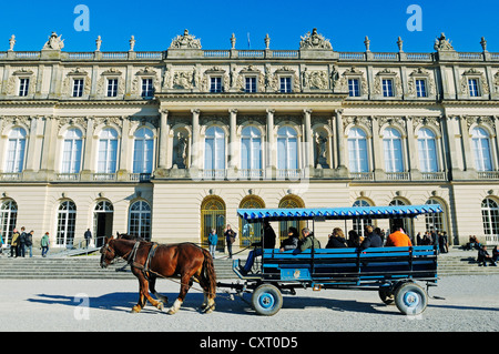 Carriage en route to Schloss Herrenchiemsee Palace built by King Ludwig II, Herreninsel island, Lake Chiemsee, Chiemgau, - Stock Photo