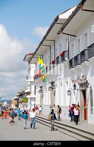 Colonial architecture at Parque Caldas, Popayán, capital of the Departamento de Cauca, Colombia, Latin America, South America