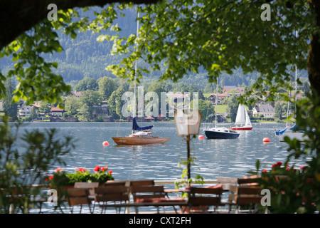 Mondsee lake, view from Fisherman's Restaurant in Mondsee, Salzkammergut region, Upper Austria, Austria, Europe - Stock Photo