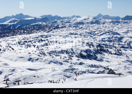 Ski area of Krippenstein Mountain with Margschierf Mountain and the Dachstein Mountains, Salzkammergut, Upper Austria, - Stock Photo
