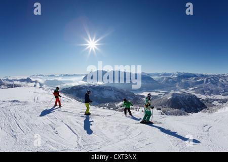 Tauplitz skiing area, Tauplitzalm alp, Grimming in the middle, Bad Mitterndorf, Ausseerland, Salzkammergut, Styria, - Stock Photo