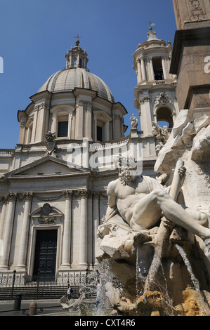 Church of Sant Agnese in Agone, Fountain of the Four Rivers, Piazza Navona, Rome, Italy, Europe - Stock Photo