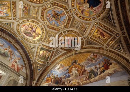 Ceiling design, Vatican Museums, Rome, Italy, Europe - Stock Photo