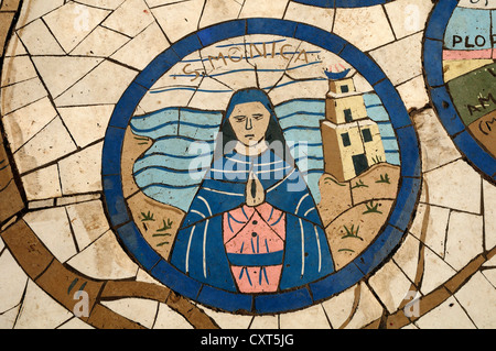 Floor mosaic, Church of the Beatitudes, site of the Sermon on the Mount, Sea of Galilee, Israel, Middle East - Stock Photo