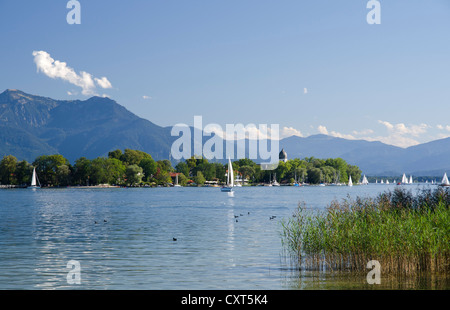 Sailing boats on Chiemsee Lake, Gstadt, Fraueninsel, Lady's Island, Upper Bavaria, Bavaria - Stock Photo