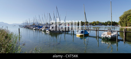Sailing boats on Chiemsee Lake, Seebruck, Upper Bavaria, Bavaria, Germany, Europe - Stock Photo