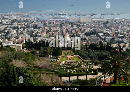 Persian gardens and the Bahai Shrine, Haifa, Israel, Middle East - Stock Photo