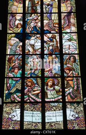 Stained glass window inside Kostel Svaté Barbory, St. Barbara's Church, Kutna Hora, Czech Republic, Europe - Stock Photo