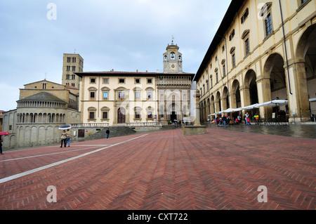 Piazza Grande square and Palazzo della Fraternita dei Laici di Arezzo palace, Arezzo, Tuscany, Italy, Europe - Stock Photo