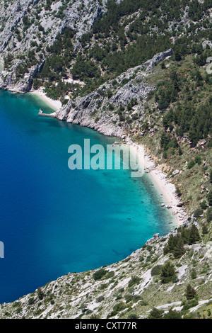 Beach in the Bay of Vrulja near Brela, Dalmatia, Croatia, Europe - Stock Photo