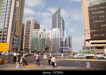 Traffic and large intersection on Hamdan Bin Mohammed Street in the downtown of Abu Dhabi, United Arab Emirates, - Stock Photo