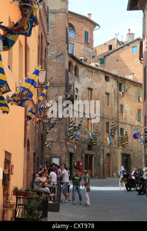 Alley in the historic district of Siena, Italy, Europe - Stock Photo