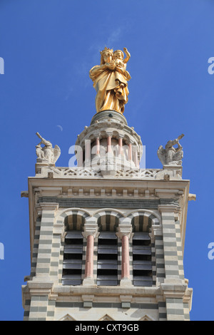 Tower of the church Notre-Dame de la Garde with the gilded statue 'Virgin and Child' by Eugène Lequesne, Marseille, - Stock Photo