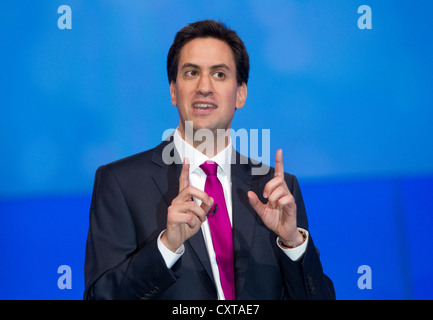 Ed Miliband at the Labour Party conference - Stock Photo