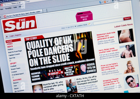 The web site of The Sun newspaper. - Stock Photo