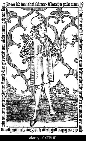 MARCO POLO (1254-1324) Venetian merchant traveller from the 1477 edition of his book 'Il Milione' (The Million) - Stock Photo