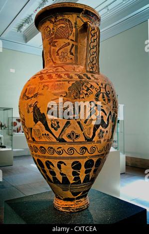 Terracotta neck-amphora storage jar Proto Attic 7th century B.C. Greek  Attic 108cm - Stock Photo