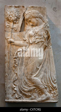 Marble relief with a dancing maenad by Kallimachos Imperial Augustan 27 B.C.–A.D. 14 Roman 143 cm - Stock Photo