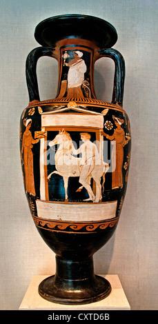 Terracotta neck amphora jar APZ Painter  330–300 BC  Greek South Italian Campanian Youth horse naiskos women neck - Stock Photo