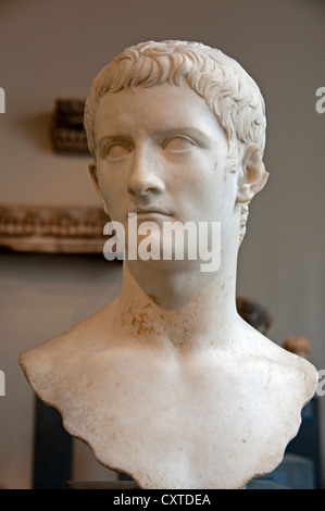 Marble portrait bust of the emperor Gaius, known as Caligula  A.D. 37–41  Roman: Marble 18 cm Italy Italian - Stock Photo