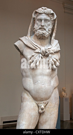 Marble Statue of a  Bearded Hercules Roman Flavian period 68-98  AD - Stock Photo