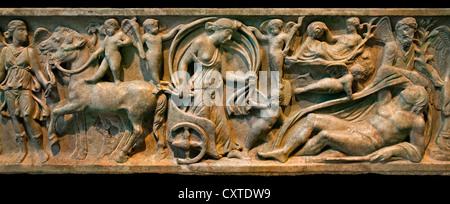 Marble sarcophagus with the myth Endymion a beautiful Shepherd loved bu the moon goddess Selene  Roman mid 2nd Century - Stock Photo