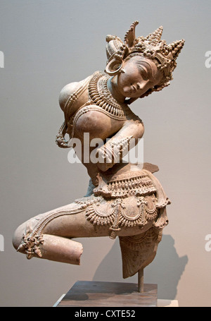 Dancing Celestial Uttar India Pradesh 12th Century Sandstone Hindu - Stock Photo