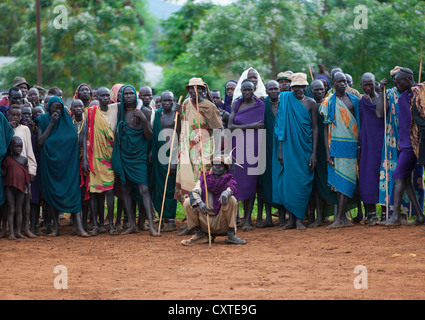 Suri Tribe People At A ceremony organized by the government, Kibish, Omo Valley, Ethiopia - Stock Photo