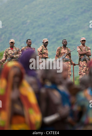 Ethiopian Army Monitoring Suri People During A Ceremony Organized By The Government, Kibish, Omo Valley, Ethiopia - Stock Photo