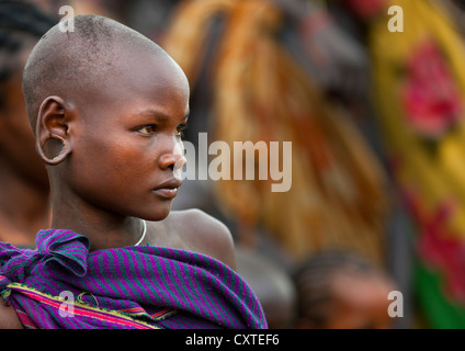 Suri Tribe Girl At A Ceremony Organized By The Government, Kibish, Omo Valley, Ethiopia - Stock Photo